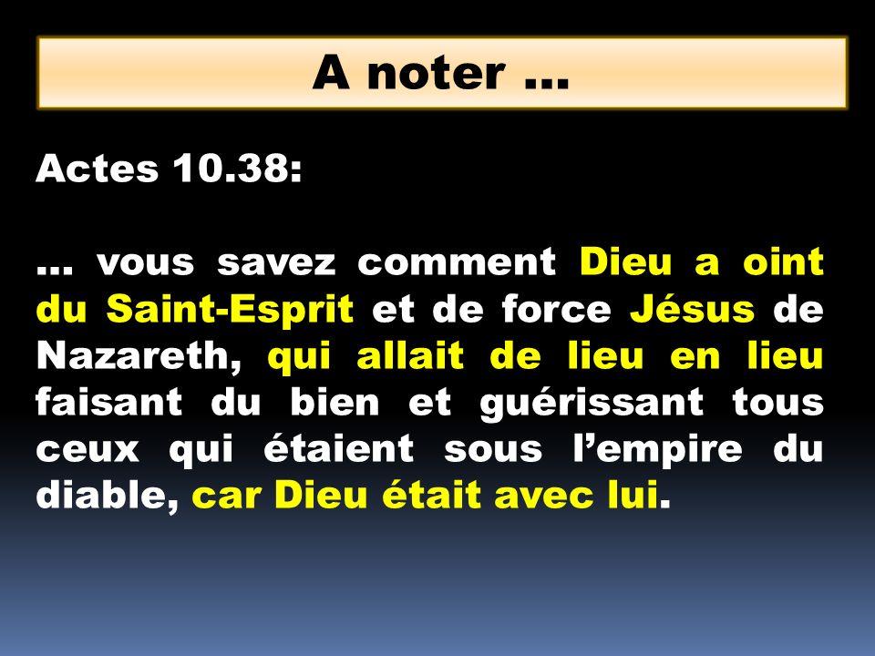 Actes 10.38: … vous savez comment Dieu a oint du Saint-Esprit et de force Jésus de Nazareth, qui allait de lieu en lieu faisant du bien et guérissant
