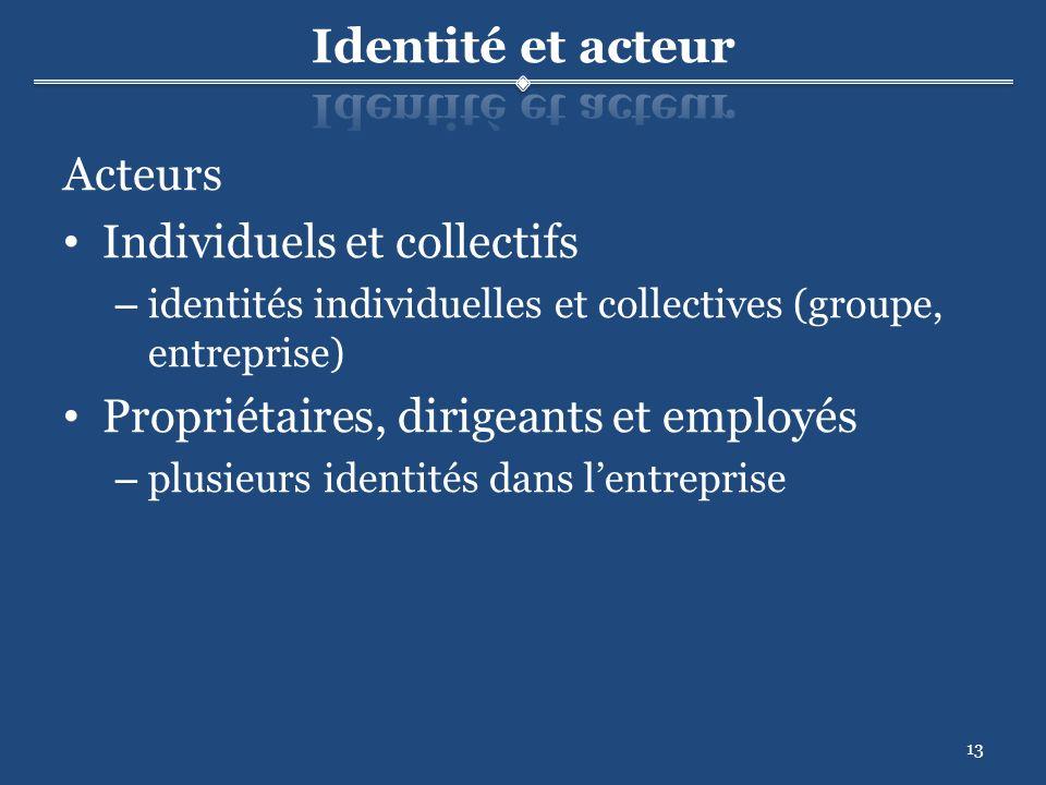 13 Acteurs Individuels et collectifs – identités individuelles et collectives (groupe, entreprise) Propriétaires, dirigeants et employés – plusieurs identités dans lentreprise