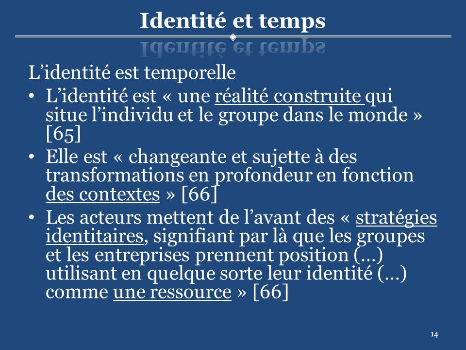 14 Lidentité est temporelle Lidentité est « une réalité construite qui situe lindividu et le groupe dans le monde » [65] Elle est « changeante et sujette à des transformations en profondeur en fonction des contextes » [66] Les acteurs mettent de lavant des « stratégies identitaires, signifiant par là que les groupes et les entreprises prennent position (…) utilisant en quelque sorte leur identité (…) comme une ressource » [66]