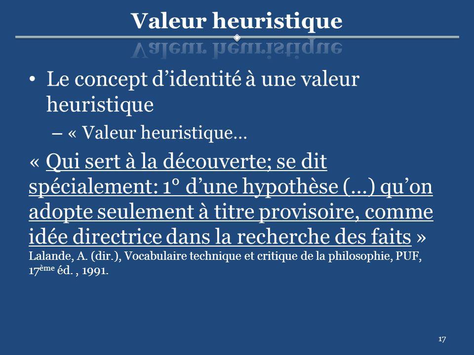17 Le concept didentité à une valeur heuristique – « Valeur heuristique… « Qui sert à la découverte; se dit spécialement: 1° dune hypothèse (…) quon adopte seulement à titre provisoire, comme idée directrice dans la recherche des faits » Lalande, A.