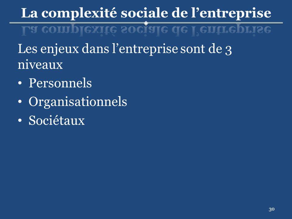 30 Les enjeux dans lentreprise sont de 3 niveaux Personnels Organisationnels Sociétaux