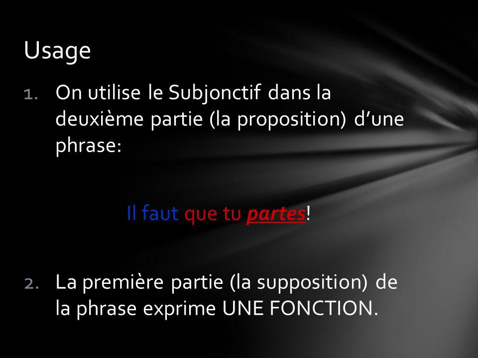 1.On utilise le Subjonctif dans la deuxième partie (la proposition) dune phrase: Il faut que tu partes! 2.La première partie (la supposition) de la ph