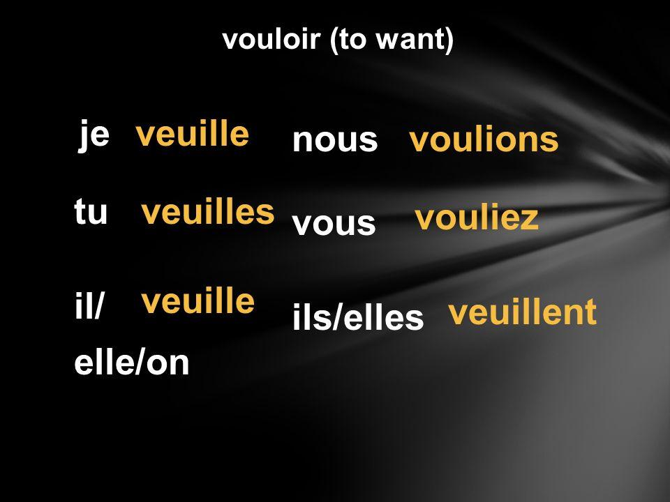 vouloir (to want) je tu il/ elle/on nous vous ils/elles veuille veuilles veuille voulions vouliez veuillent