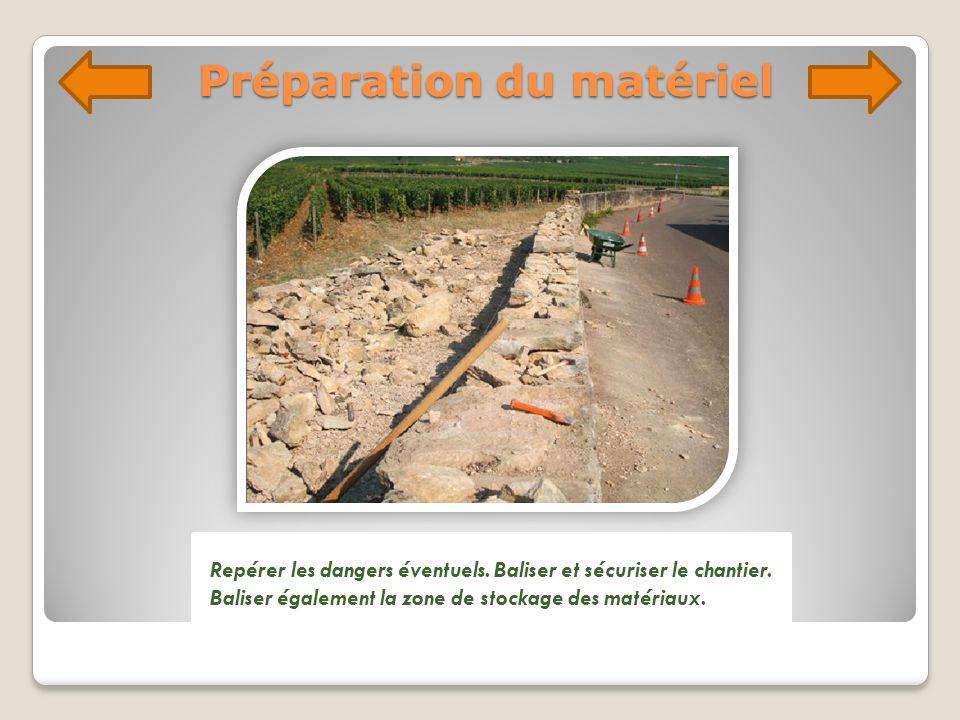 Préparation du matériel Repérer les dangers éventuels. Baliser et sécuriser le chantier. Baliser également la zone de stockage des matériaux.