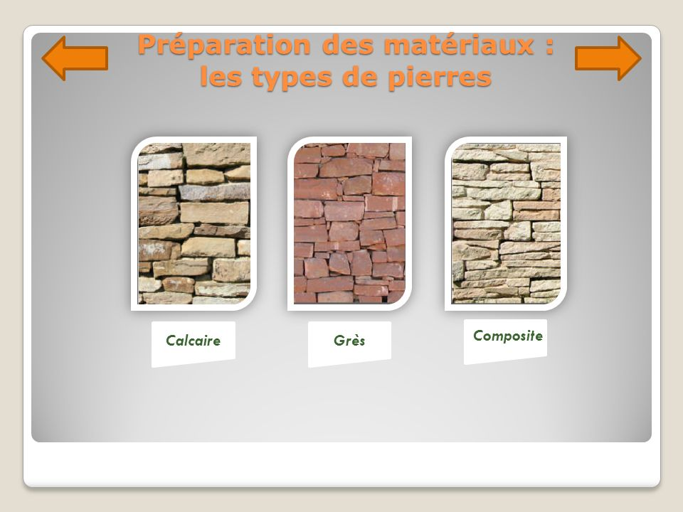 Préparation des matériaux : les types de pierres CalcaireGrès Composite