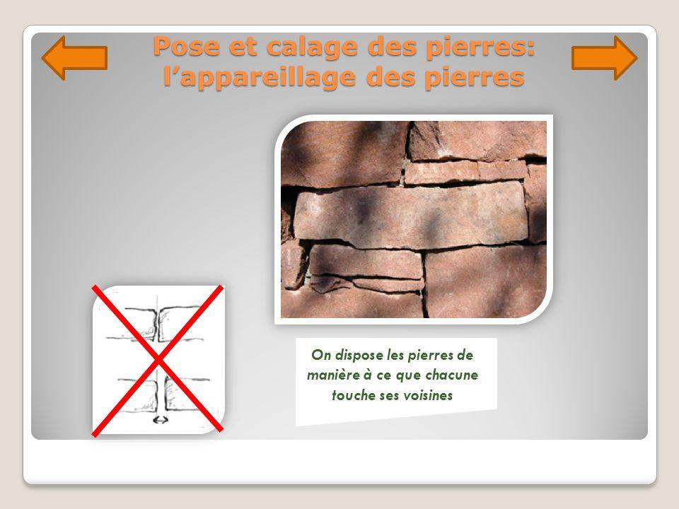 Pose et calage des pierres: lappareillage des pierres On dispose les pierres de manière à ce que chacune touche ses voisines