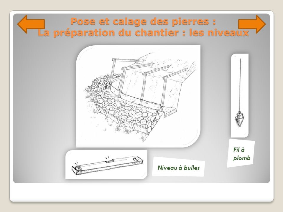 Pose et calage des pierres : La préparation du chantier : les niveaux Fil à plomb Niveau à bulles