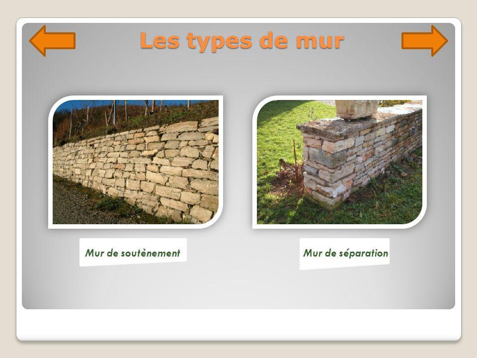 Les types de mur Mur de soutènementMur de séparation