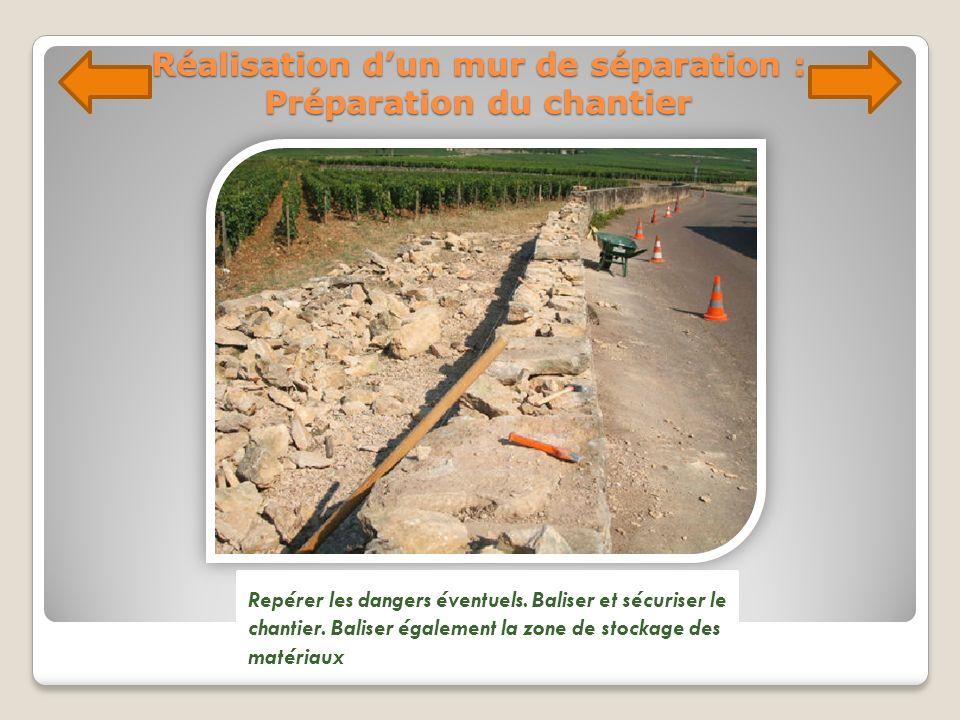 Réalisation dun mur de séparation : Préparation du chantier Repérer les dangers éventuels. Baliser et sécuriser le chantier. Baliser également la zone