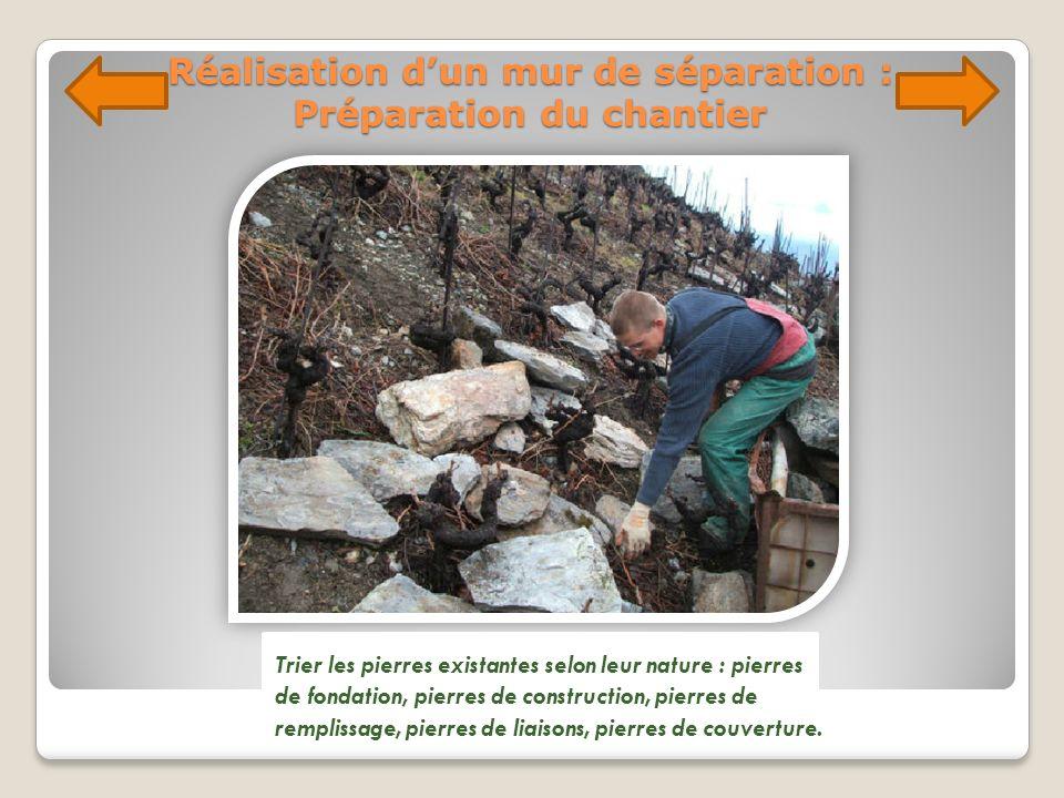Réalisation dun mur de séparation : Préparation du chantier Trier les pierres existantes selon leur nature : pierres de fondation, pierres de construc