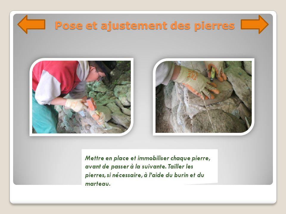 Pose et ajustement des pierres Mettre en place et immobiliser chaque pierre, avant de passer à la suivante. Tailler les pierres, si nécessaire, à laid