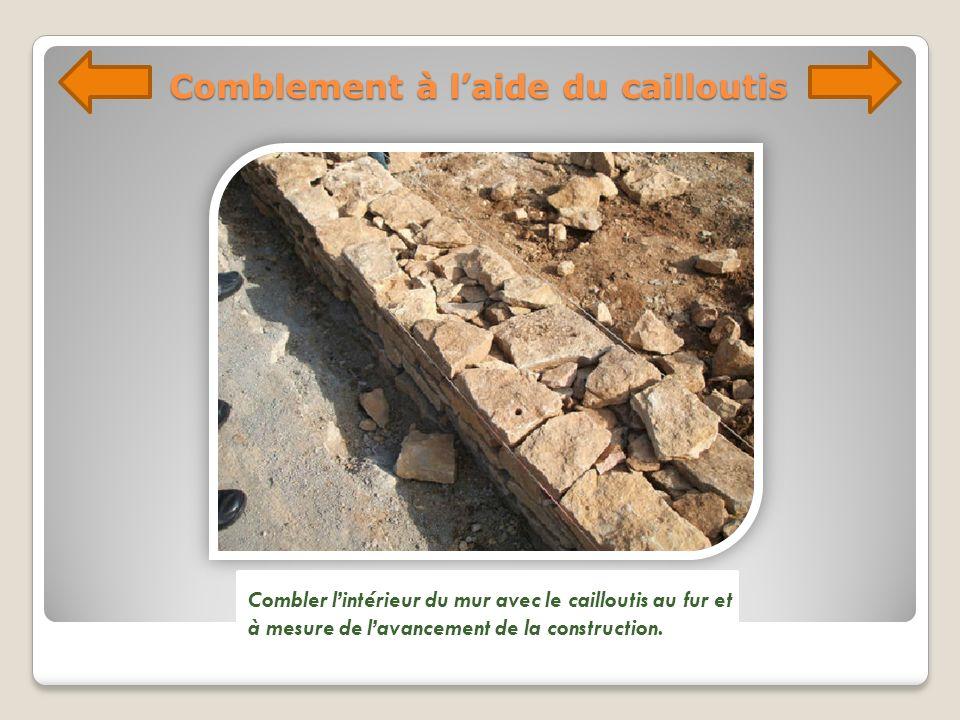Comblement à laide du cailloutis Combler lintérieur du mur avec le cailloutis au fur et à mesure de lavancement de la construction.