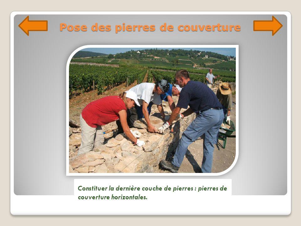 Pose des pierres de couverture Constituer la dernière couche de pierres : pierres de couverture horizontales.