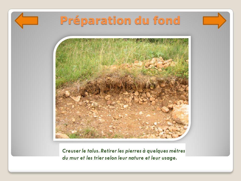 Préparation du fond Creuser le talus. Retirer les pierres à quelques mètres du mur et les trier selon leur nature et leur usage.