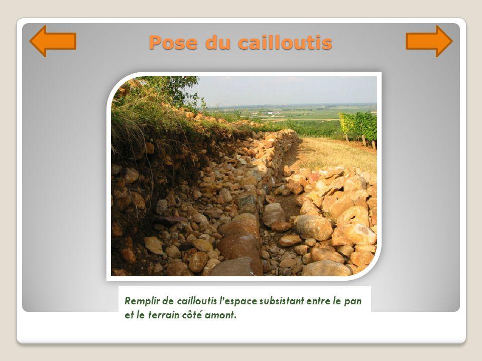 Pose du cailloutis Remplir de cailloutis lespace subsistant entre le pan et le terrain côté amont.
