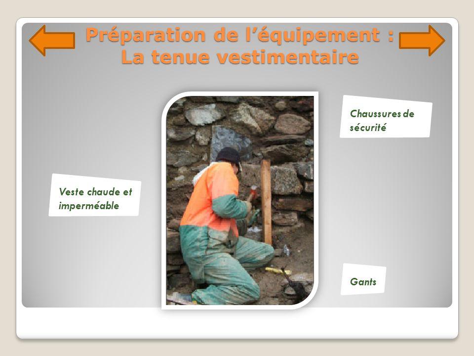 Préparation de léquipement : La tenue vestimentaire Veste chaude et imperméable Chaussures de sécurité Gants