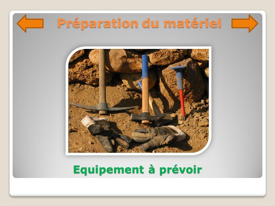 Préparation du matériel Equipement à prévoir