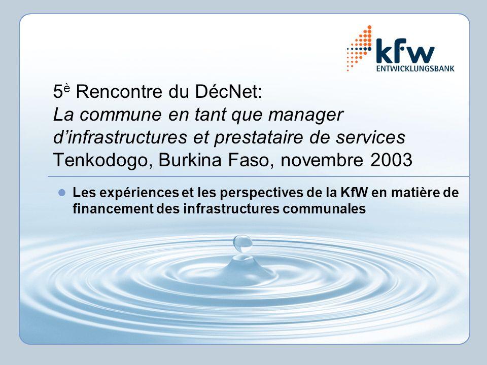 5 è Rencontre du DécNet: La commune en tant que manager dinfrastructures et prestataire de services Tenkodogo, Burkina Faso, novembre 2003 Les expérie