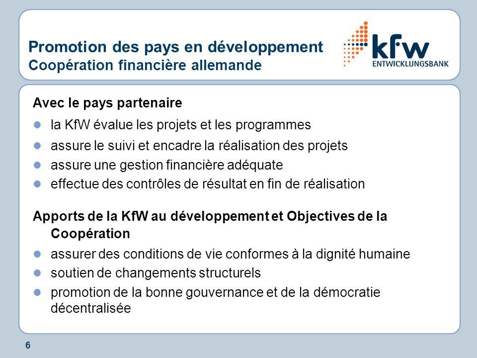 6 Promotion des pays en développement Coopération financière allemande Avec le pays partenaire la KfW évalue les projets et les programmes assure le s