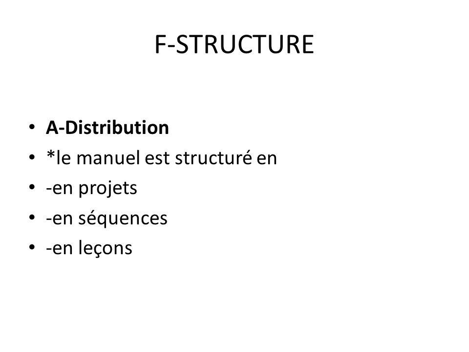 F-STRUCTURE A-Distribution *le manuel est structuré en -en projets -en séquences -en leçons