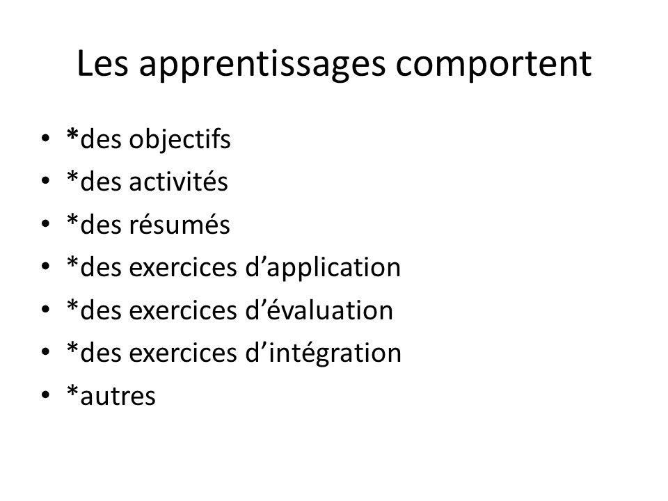 Les apprentissages comportent *des objectifs *des activités *des résumés *des exercices dapplication *des exercices dévaluation *des exercices dintégr