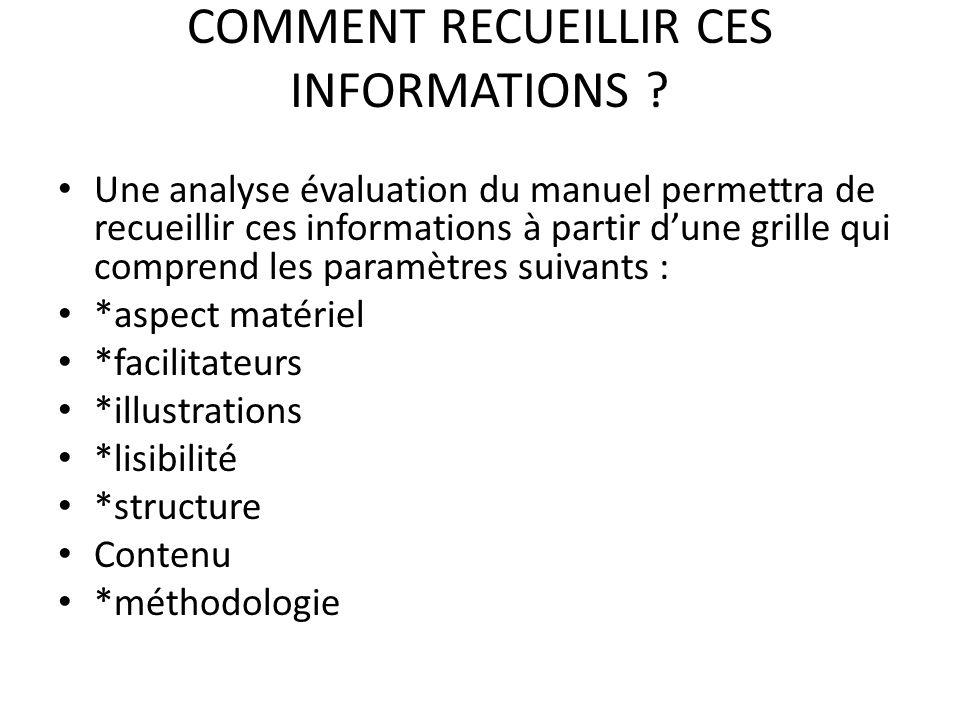 COMMENT RECUEILLIR CES INFORMATIONS ? Une analyse évaluation du manuel permettra de recueillir ces informations à partir dune grille qui comprend les