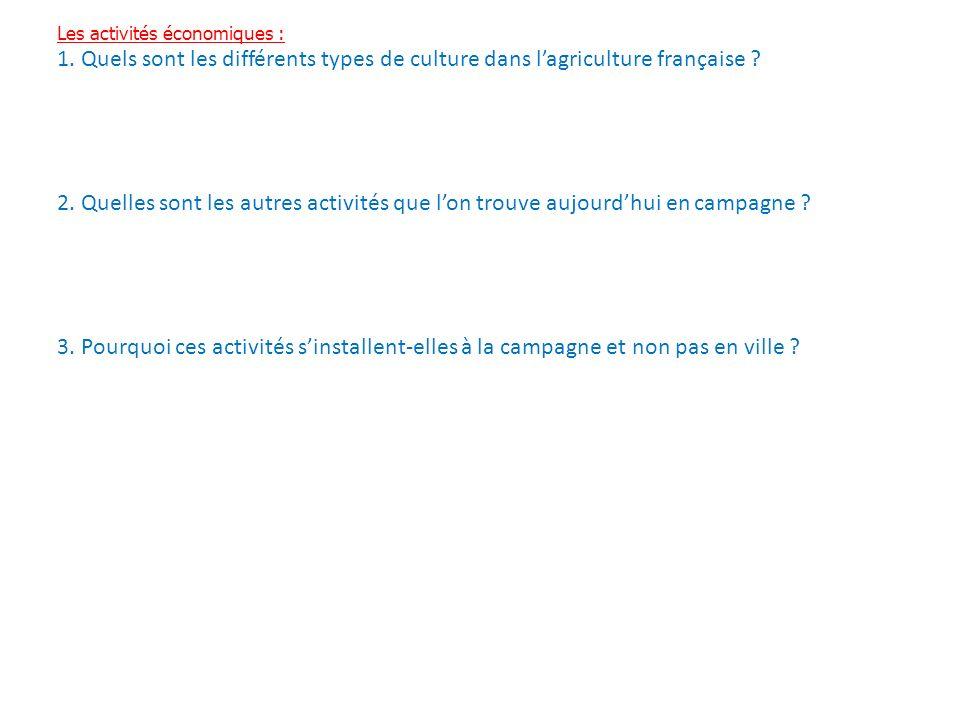 Les activités économiques : 1. Quels sont les différents types de culture dans lagriculture française ? 2. Quelles sont les autres activités que lon t
