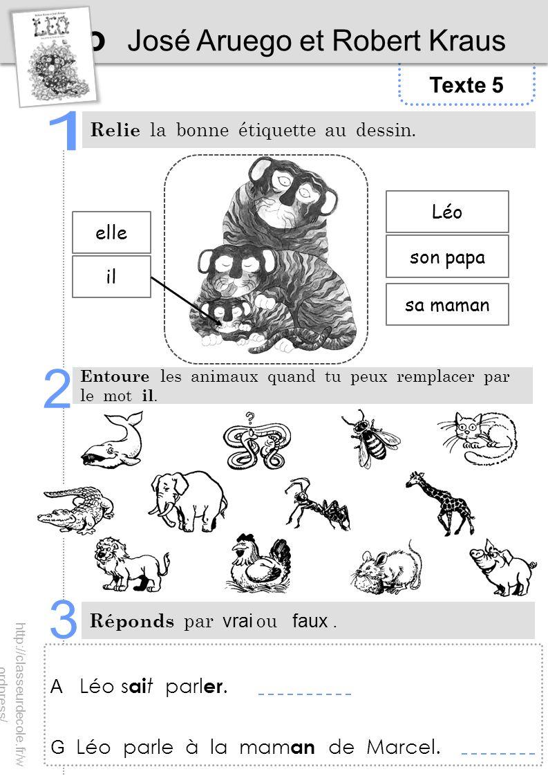 Texte 5 Léo José Aruego et Robert Kraus Relie la bonne étiquette au dessin. Entoure les animaux quand tu peux remplacer par le mot il. Réponds par vra