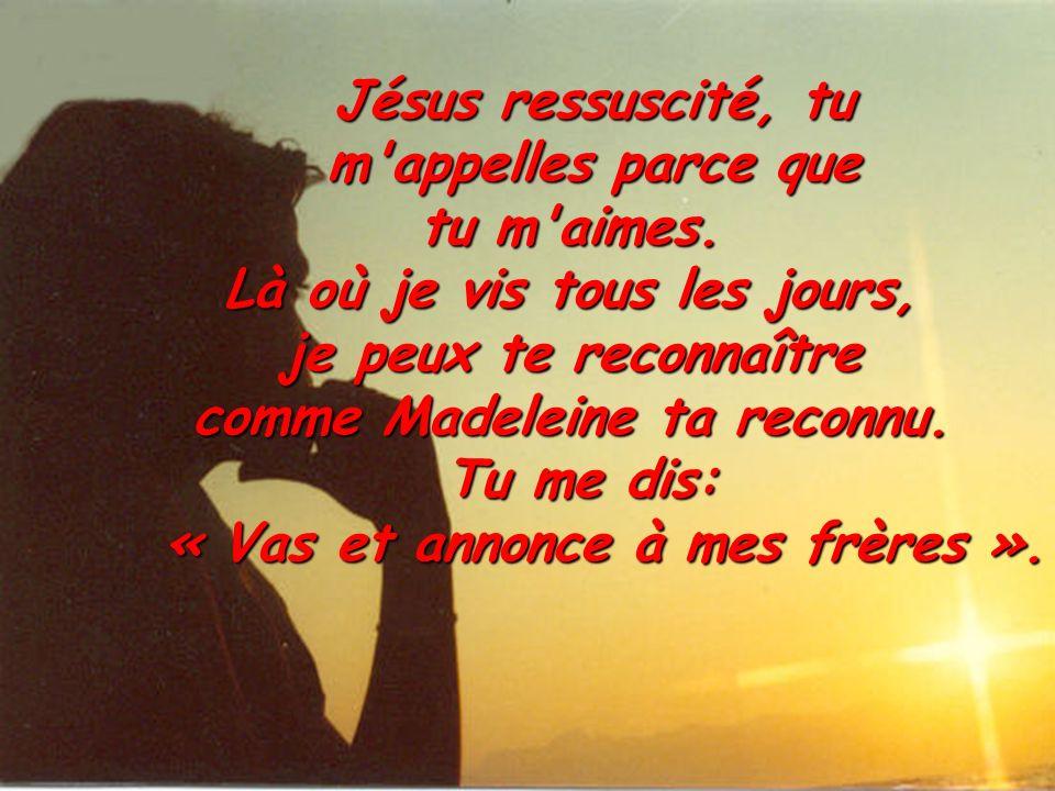 Jésus ressuscité, tu m'appelles parce que tu m'aimes. Là où je vis tous les jours, je peux te reconnaître comme Madeleine ta reconnu. Tu me dis: « Vas