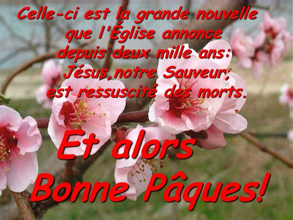 Celle-ci est la grande nouvelle que l'Église annonce depuis deux mille ans: Jésus,notre Sauveur, est ressuscité des morts. Et alors Bonne Pâques!