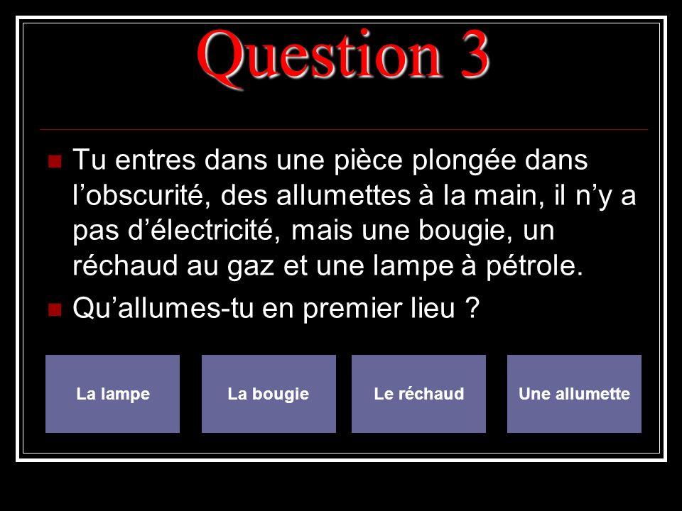 Question 3 Tu entres dans une pièce plongée dans lobscurité, des allumettes à la main, il ny a pas délectricité, mais une bougie, un réchaud au gaz et