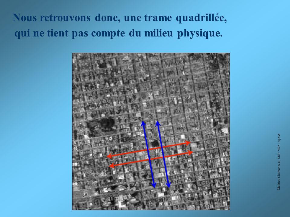 Mathieu Charbonneau, EDU 7492, UQAM A) B) D) C) Choisissez la bonne réponse: Trame quadrillée rigide Trame quadrillée organique Trame linéaire organiq