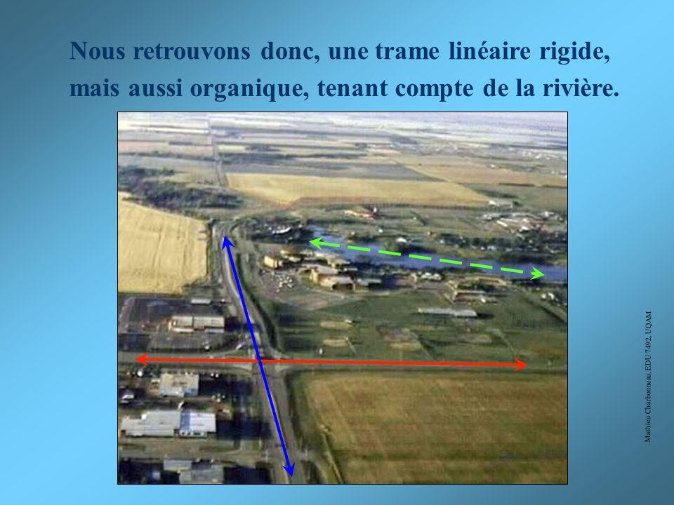 Mathieu Charbonneau, EDU 7492, UQAM Choisissez la bonne réponse: A) B) C) D) Trame linéaire organique Trame quadrillée rigide Trame linéaire rigide et