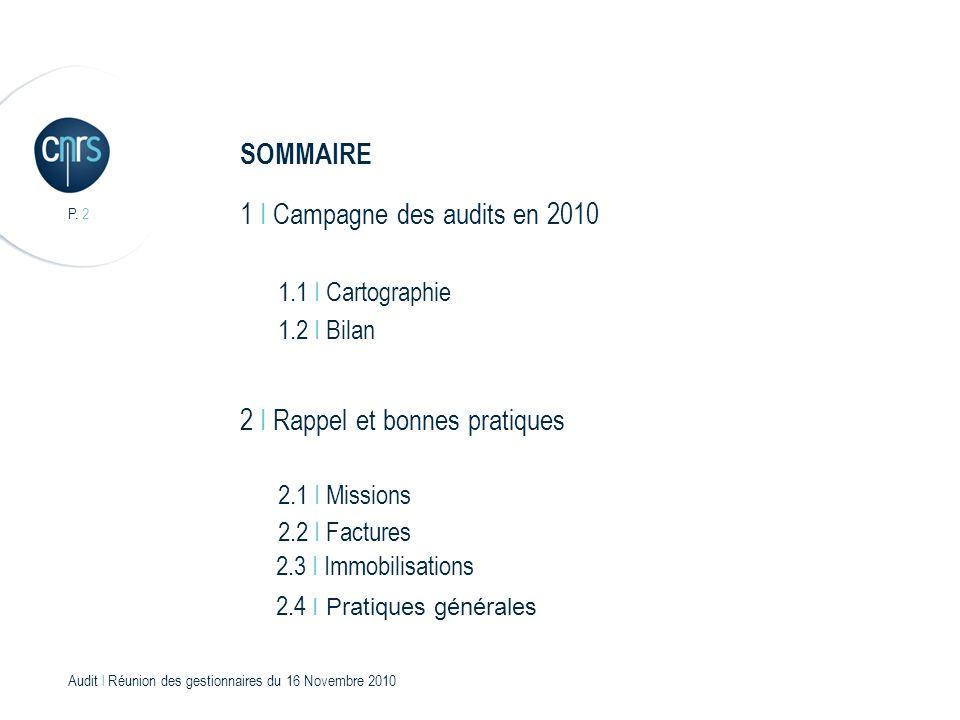 Audit l Réunion des gestionnaires du 16 Novembre 2010 P. 3 Campagne des audits en 2010