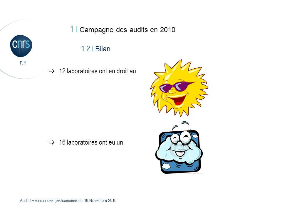 Audit l Réunion des gestionnaires du 16 Novembre 2010 P.