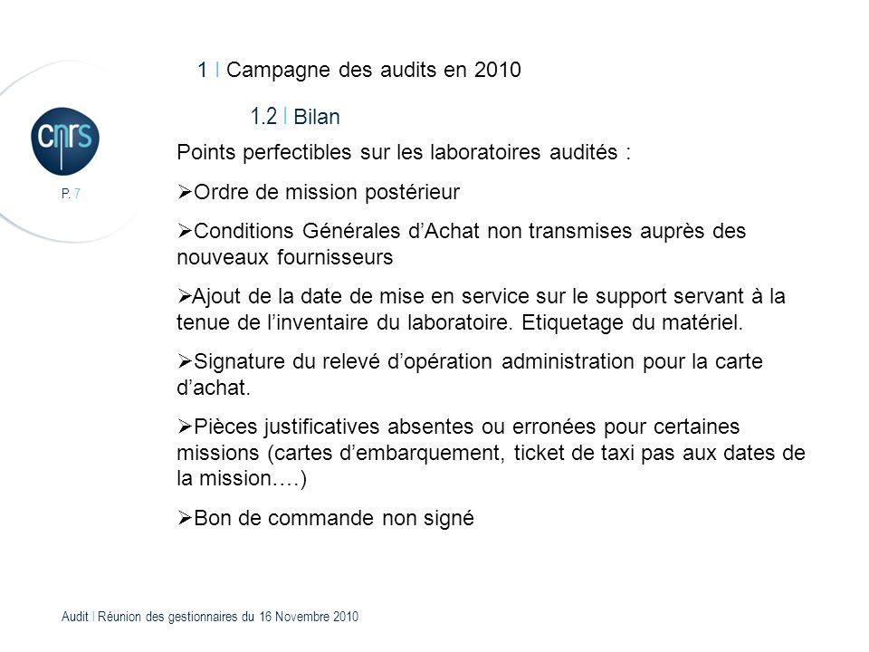 Audit l Réunion des gestionnaires du 16 Novembre 2010 P. 18 Merci de votre attention