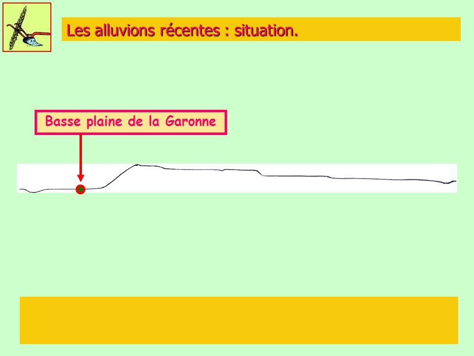 Les alluvions récentes : situation. Basse plaine de la Garonne