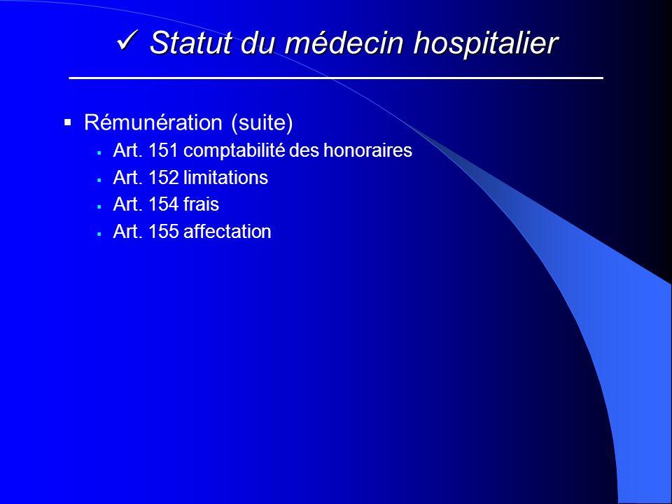 Statut du médecin hospitalier Statut du médecin hospitalier Rémunération (suite) Art. 151 comptabilité des honoraires Art. 152 limitations Art. 154 fr