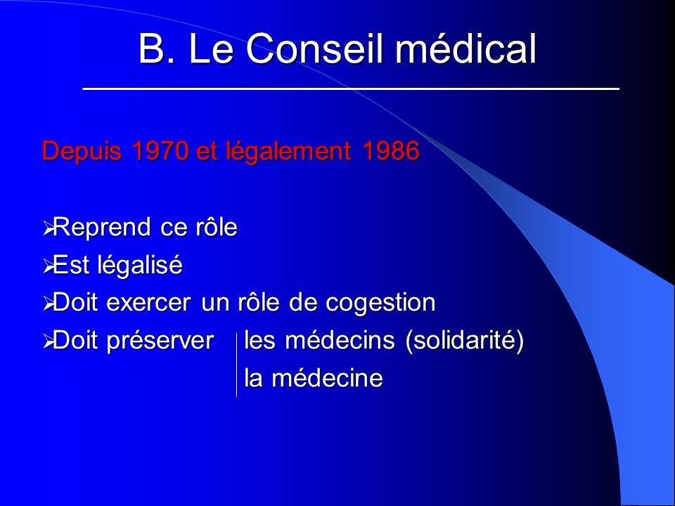B. Le Conseil médical Depuis 1970 et légalement 1986 Reprend ce rôle Reprend ce rôle Est légalisé Est légalisé Doit exercer un rôle de cogestion Doit
