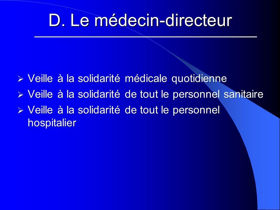 D. Le médecin-directeur Veille à la solidarité médicale quotidienne Veille à la solidarité médicale quotidienne Veille à la solidarité de tout le pers