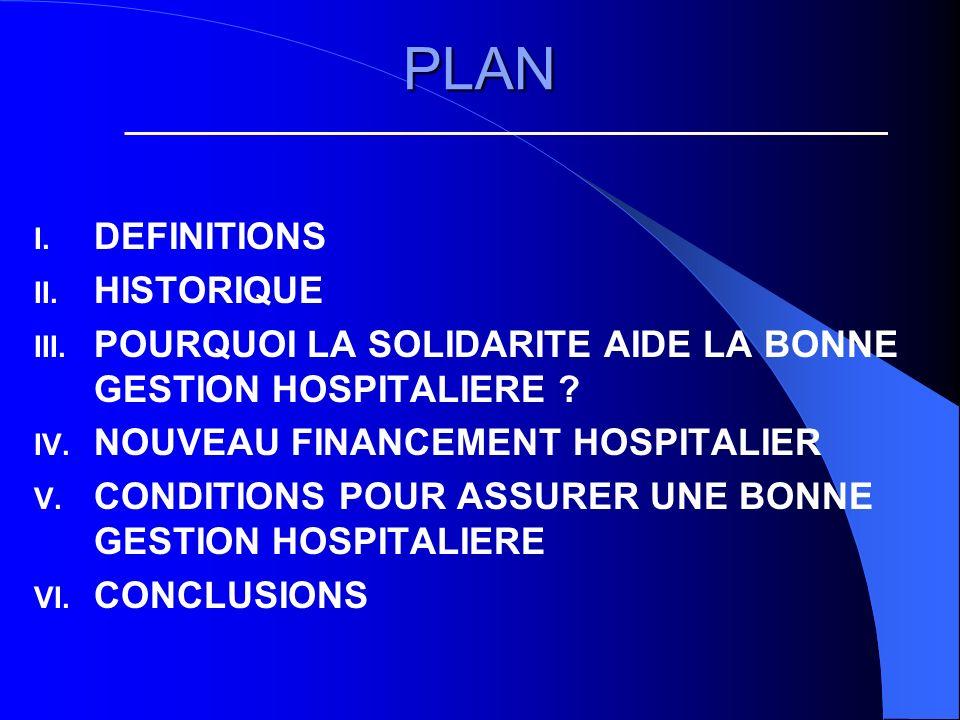 PLAN I. DEFINITIONS II. HISTORIQUE III.