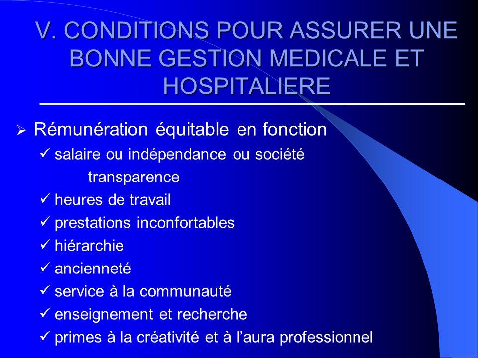 V. CONDITIONS POUR ASSURER UNE BONNE GESTION MEDICALE ET HOSPITALIERE Rémunération équitable en fonction salaire ou indépendance ou société transparen