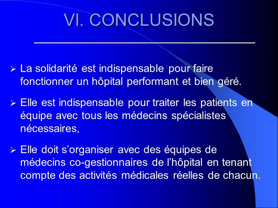 VI. CONCLUSIONS La solidarité est indispensable pour faire fonctionner un hôpital performant et bien géré. Elle est indispensable pour traiter les pat