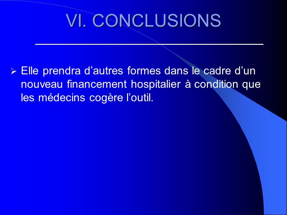 VI. CONCLUSIONS Elle prendra dautres formes dans le cadre dun nouveau financement hospitalier à condition que les médecins cogère loutil.