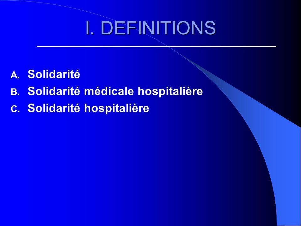 I. DEFINITIONS A. Solidarité B. Solidarité médicale hospitalière C. Solidarité hospitalière