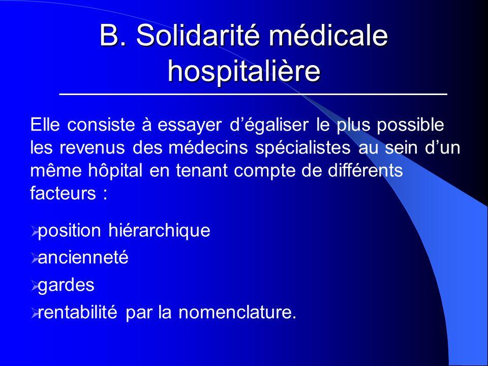 B. Solidarité médicale hospitalière Elle consiste à essayer dégaliser le plus possible les revenus des médecins spécialistes au sein dun même hôpital