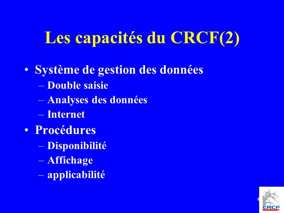 4 Les capacités du CRCF(2) Système de gestion des données –Double saisie –Analyses des données –Internet Procédures –Disponibilité –Affichage –applica