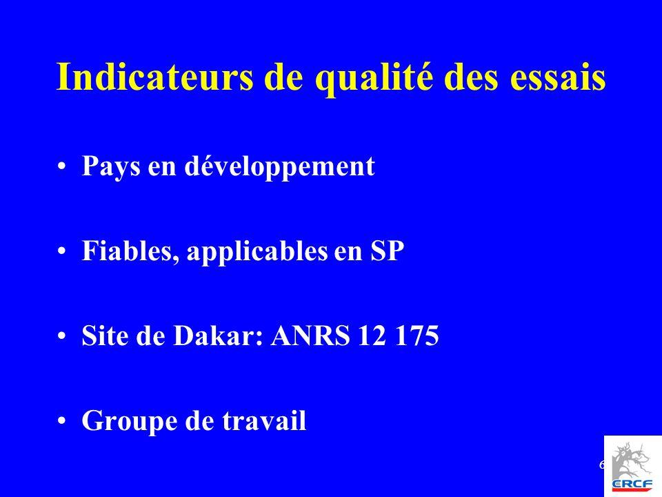 6 Pays en développement Fiables, applicables en SP Site de Dakar: ANRS 12 175 Groupe de travail