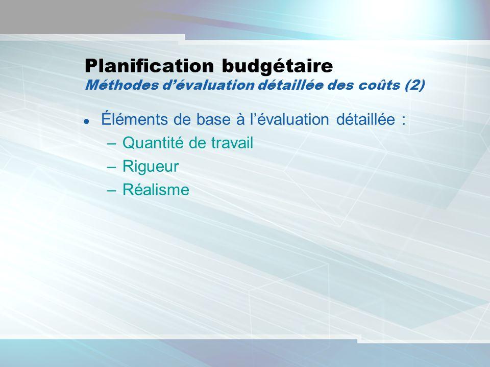 18 Planification budgétaire Méthodes dévaluation détaillée des coûts (2) Éléments de base à lévaluation détaillée : –Quantité de travail –Rigueur –Réa