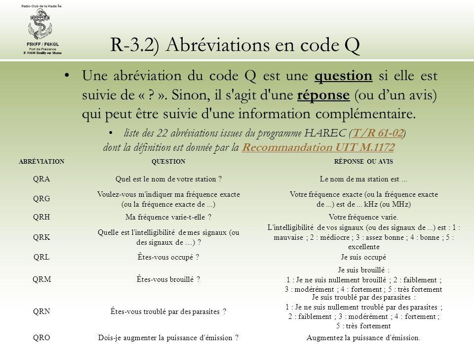 R-3.2) Abréviations en code Q Une abréviation du code Q est une question si elle est suivie de « ? ». Sinon, il s'agit d'une réponse (ou dun avis) qui